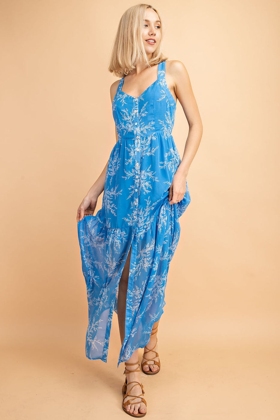 Printed V-Neck Button Down Maxi Dress In Blue - Siin Bees
