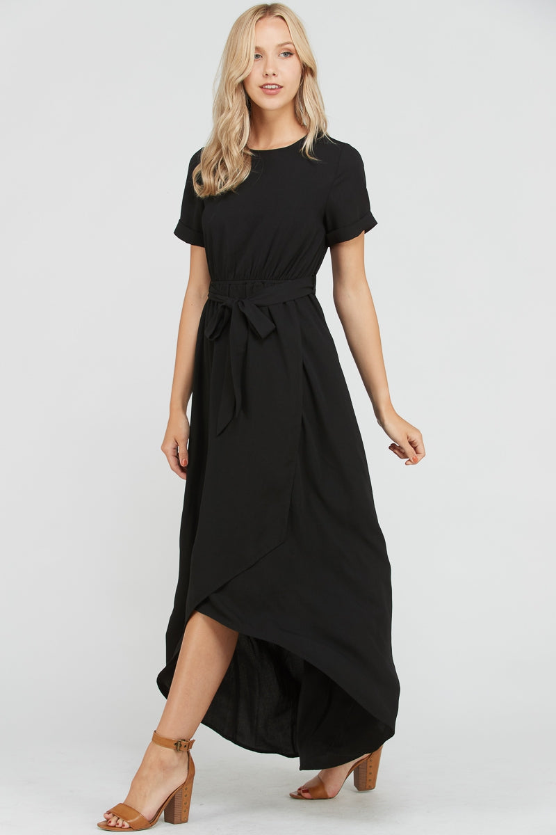 Mia Short Sleeve Wrap Dress Side With Waist Tie In Black Siin Bees