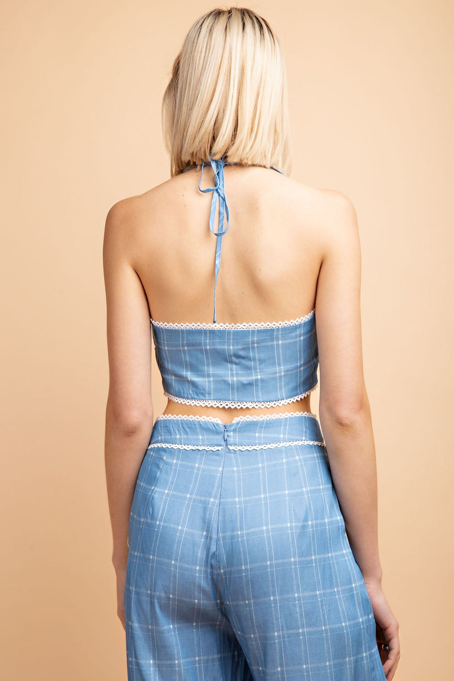 Grid Print Halter Crop Top with Bow Detail Siin Bees