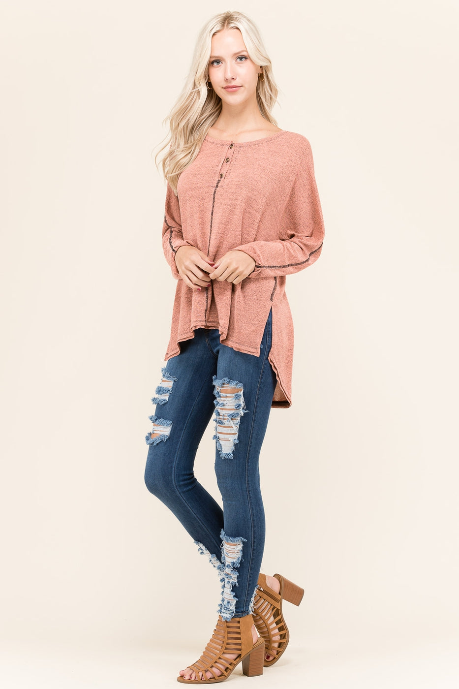 Blush Solid Tunic Top with Buttons Siin Bees