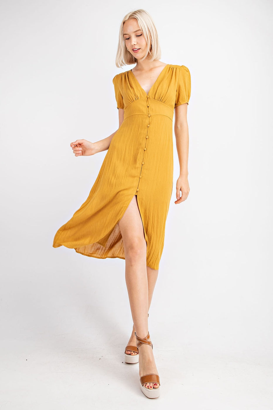 Scarlett Midi Dress With Short Sleeve Button Down In Mustard Siin Bees
