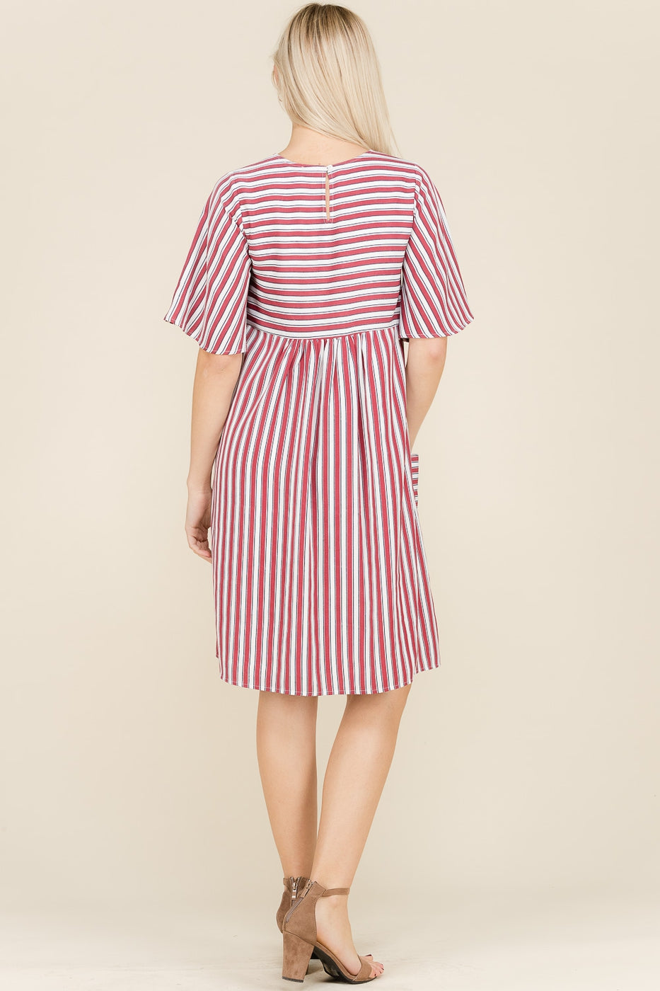 Mila Stripe Mini Dress Nursing Friendly Bust Open Pocket In red Siin Bees