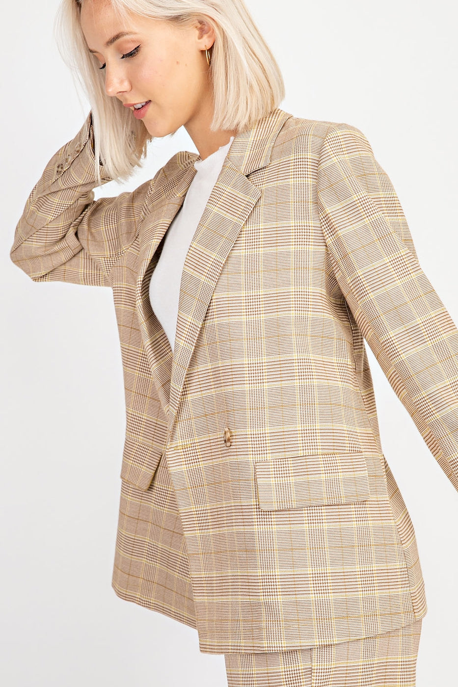 Over Sized Plaid Blazer Siin Bees