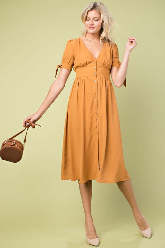 Mia Mustard Gold Button Front Accent Babydoll Solid Shift Midi Dress With Tie Sleeve Siin Bees