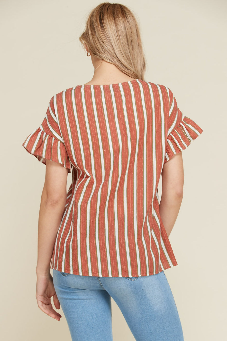 Short Sleeve Stripe Top Ruffle In Rust Siin Bees