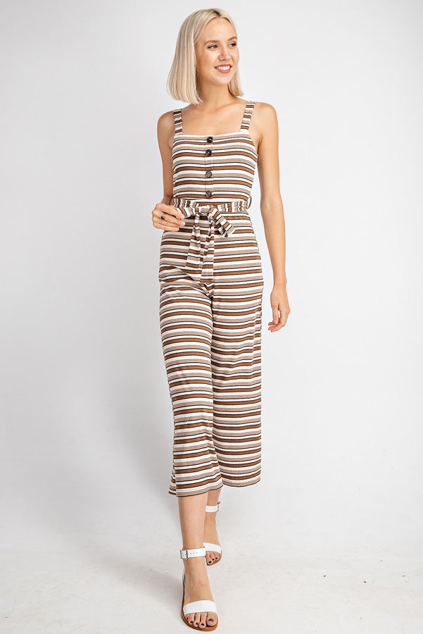 Lillian Striped Rib Knit Jumpsuit With Waist Tie In Brown Multi Siin Bees