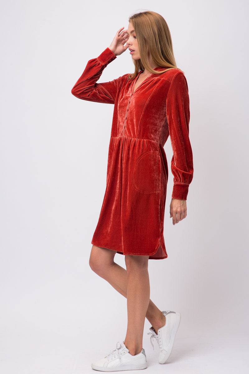 Evelyn Rust Velvet Pleated Button Down Dress Siin Bees