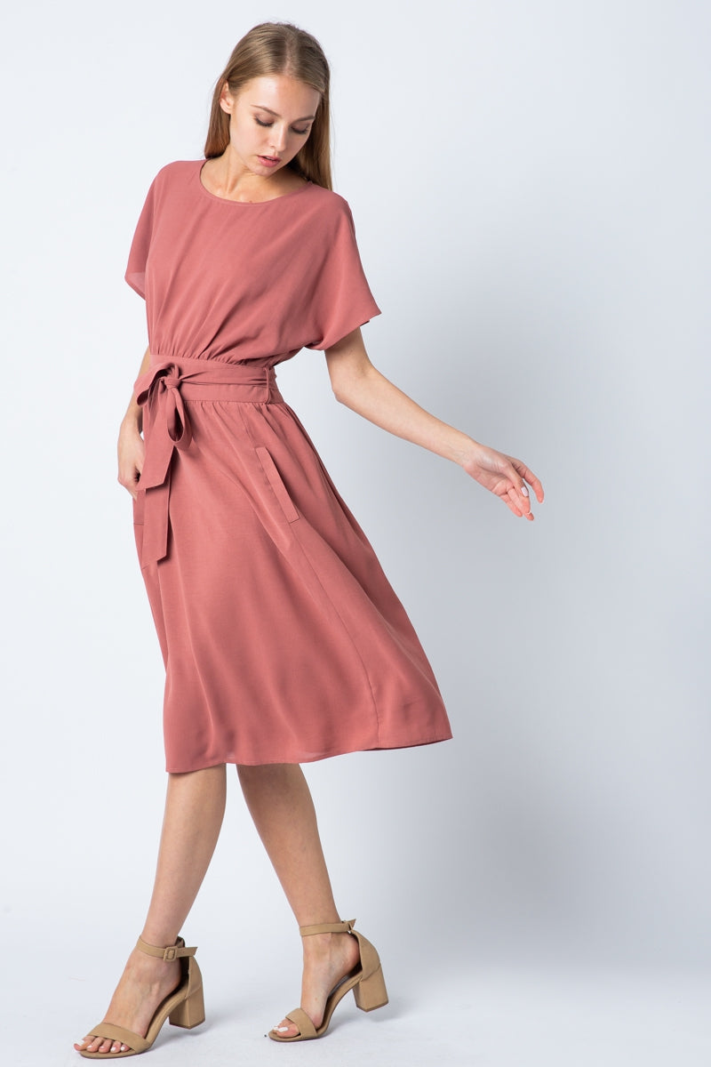 Maggie Drop Shoulder Waist Midi Dress Siin Bees