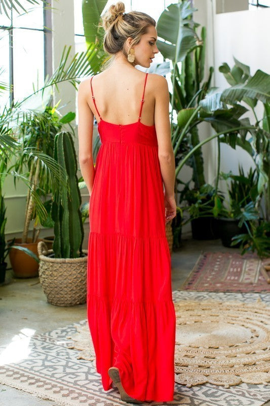 Bella Front Tie Trim Detail Ruffle Maxi Dress In Coral Siin Bees