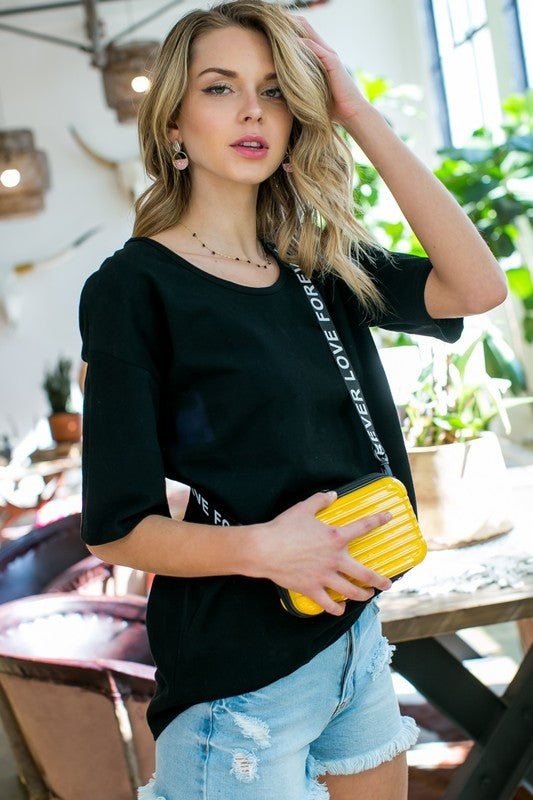 Round Neck Short Sleeve Loose Fit Solid Top Siin Bees