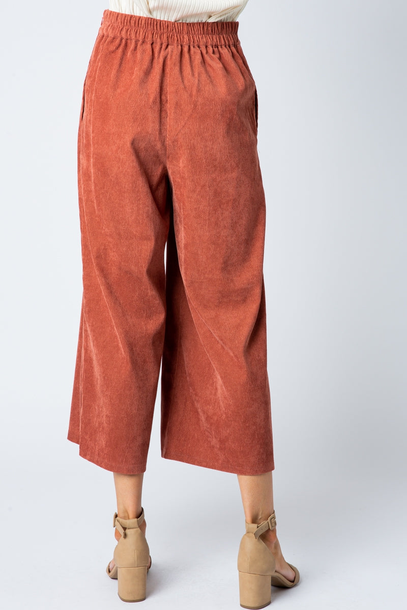 Lisa Rust Wide Pants With Scalloped Edge Detail Siin Bees