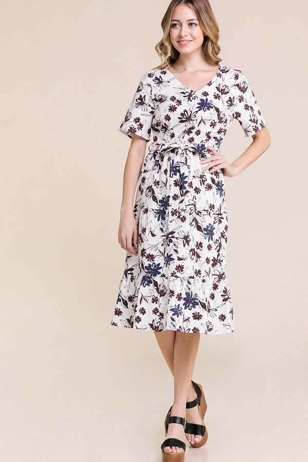 Sylvia Midi Dress Floral With Belt Tie In Ivory Siin Bees