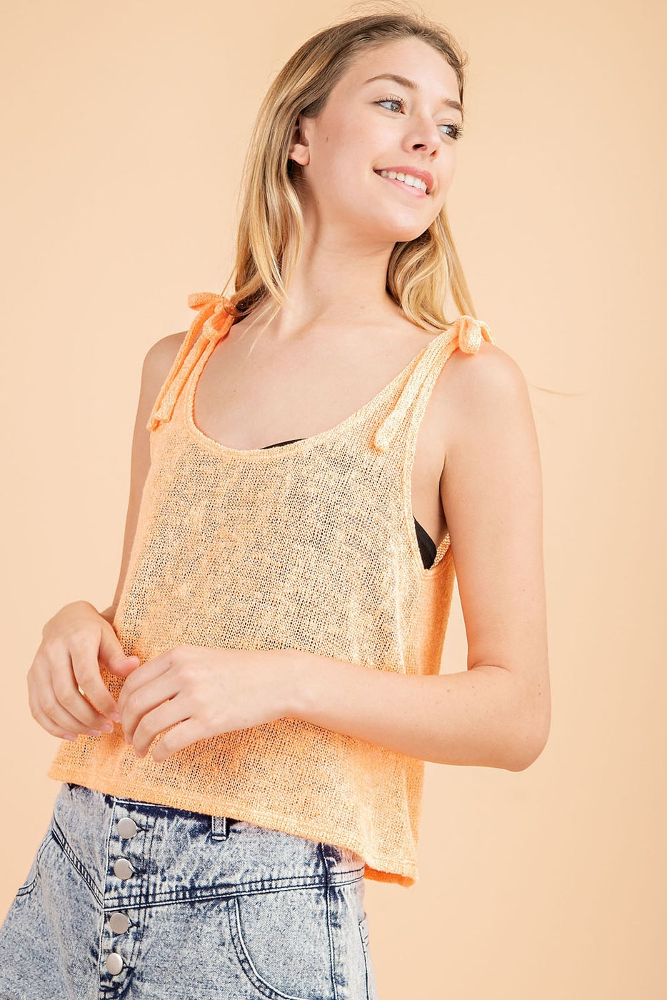 Sleeveless Knit Top With Shoulder Tie Detail - Siin Bees
