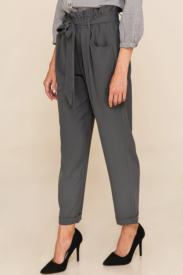 Stylish Waist Tie Pants With Front Pockets IN Charcoal Siin Bees