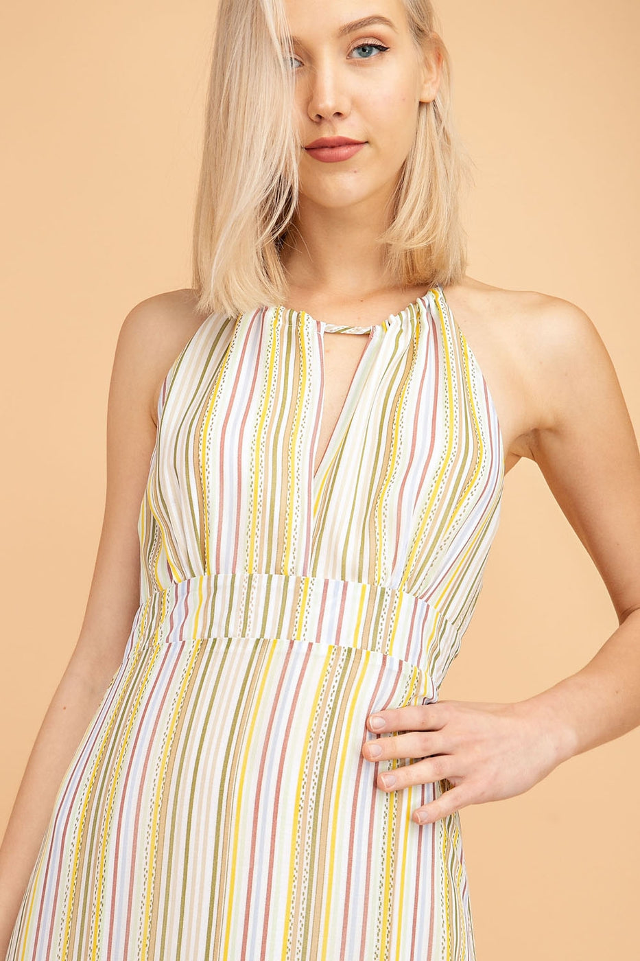 Multi Striped Halter Maxi Dress Woven Siin Bees