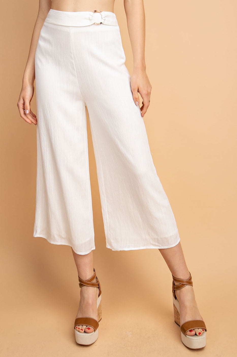 Solid Culottes With Waist Ring Trim Siin Bees
