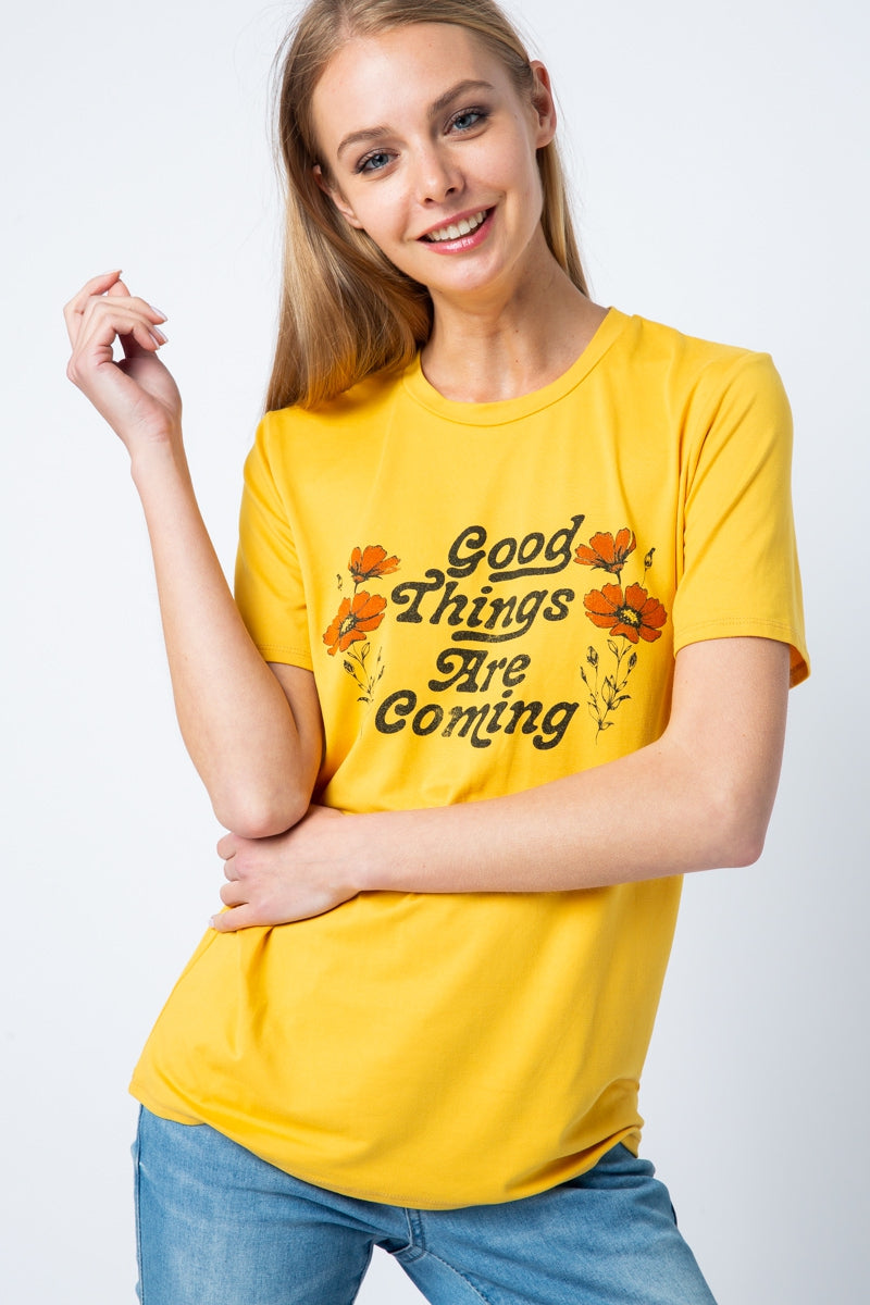 Short Sleeves Mustard Top With Graphic Tee Siin Bees