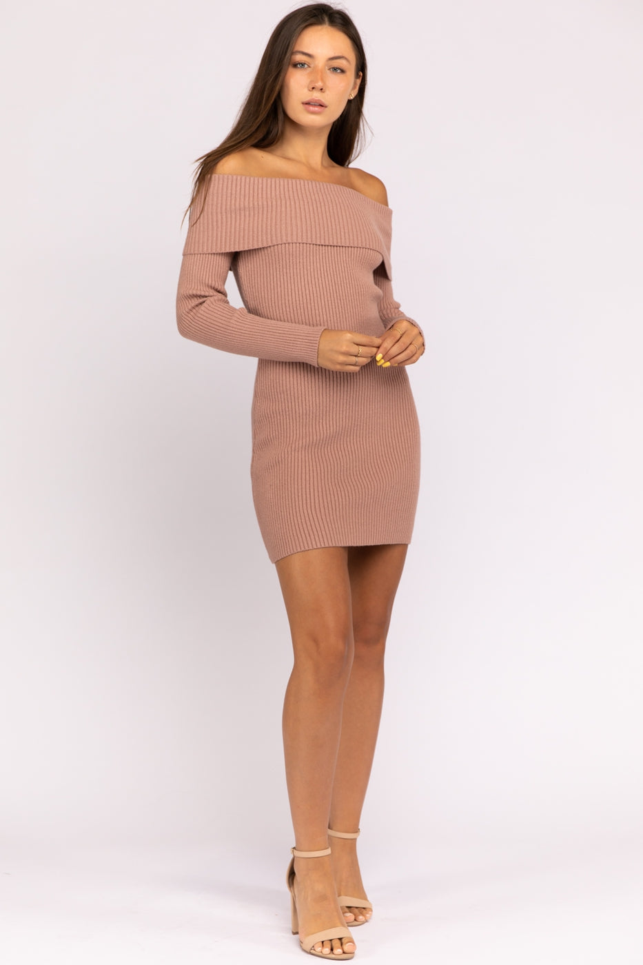 Off Shoulder Rib Knit Bodycon Dress In Lt-Blush Siin Bees