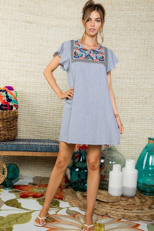 Front Embroideres Detail Short Ruffle Sleeve Stripe Printed Full linded Dress Siin Bees