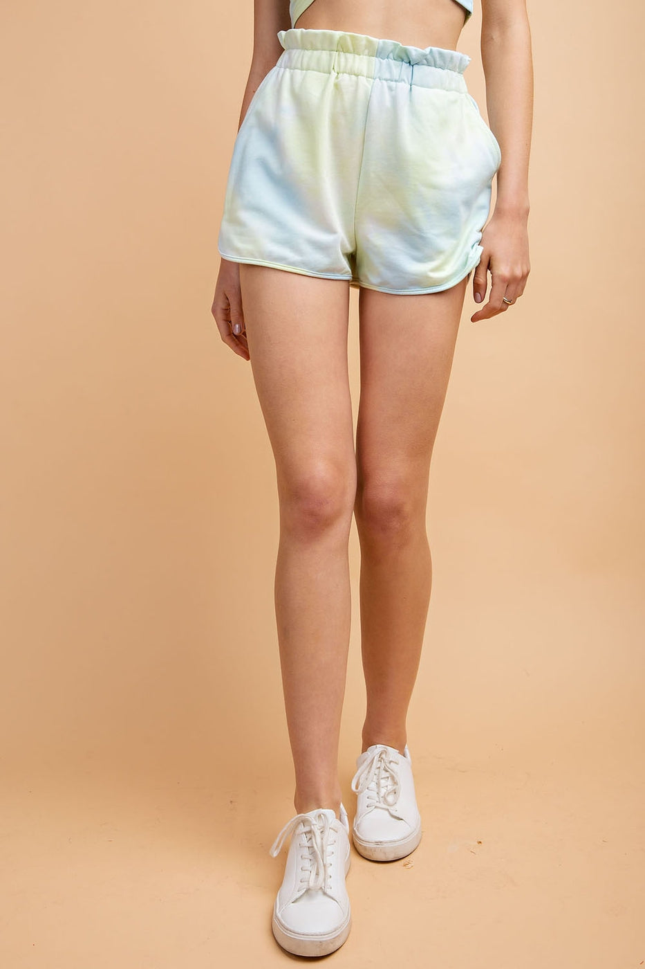 Elastic Waist Tie Dye Shorts With Side Pockets Siin Bees