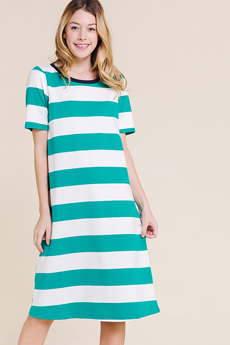 Genesis Green/Ivory Knit Striped Dress Siin Bees