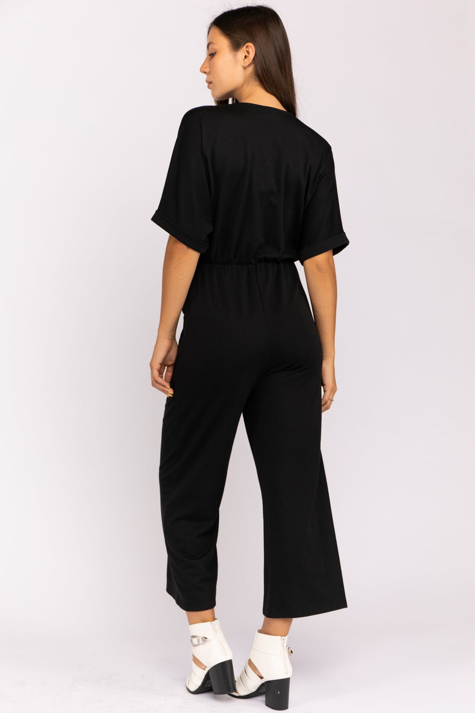 Button Down Waist Tie Jumpsuit In Black Siin Bees