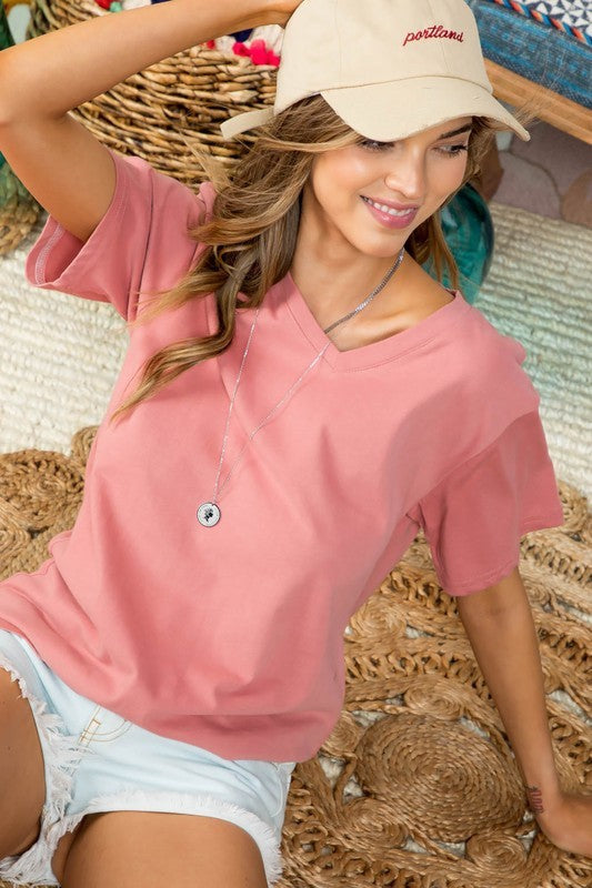 Mauve V Neck Short Sleeve Oversize Fit Solid Washed Knit Top Siin Bees