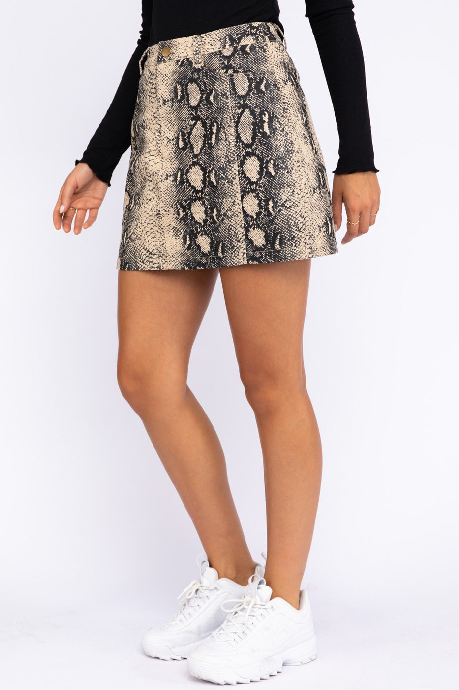Snake Skin Print Mini Skirt in Taupe Siin Bees