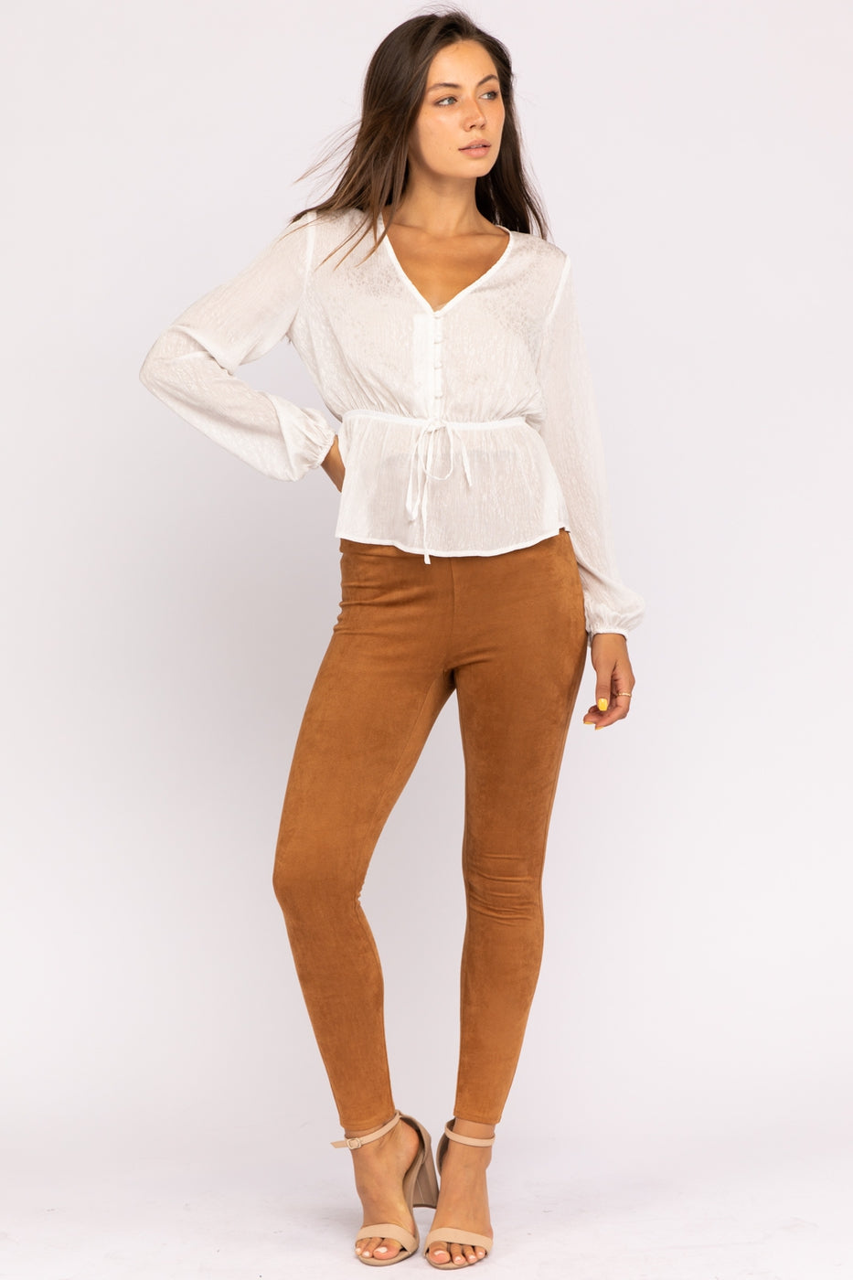 long Sleeve V-Neck Top With Button Down Siin Bees