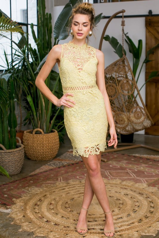 Ruby Crochet Lace Dress In Yellow Siin Bees