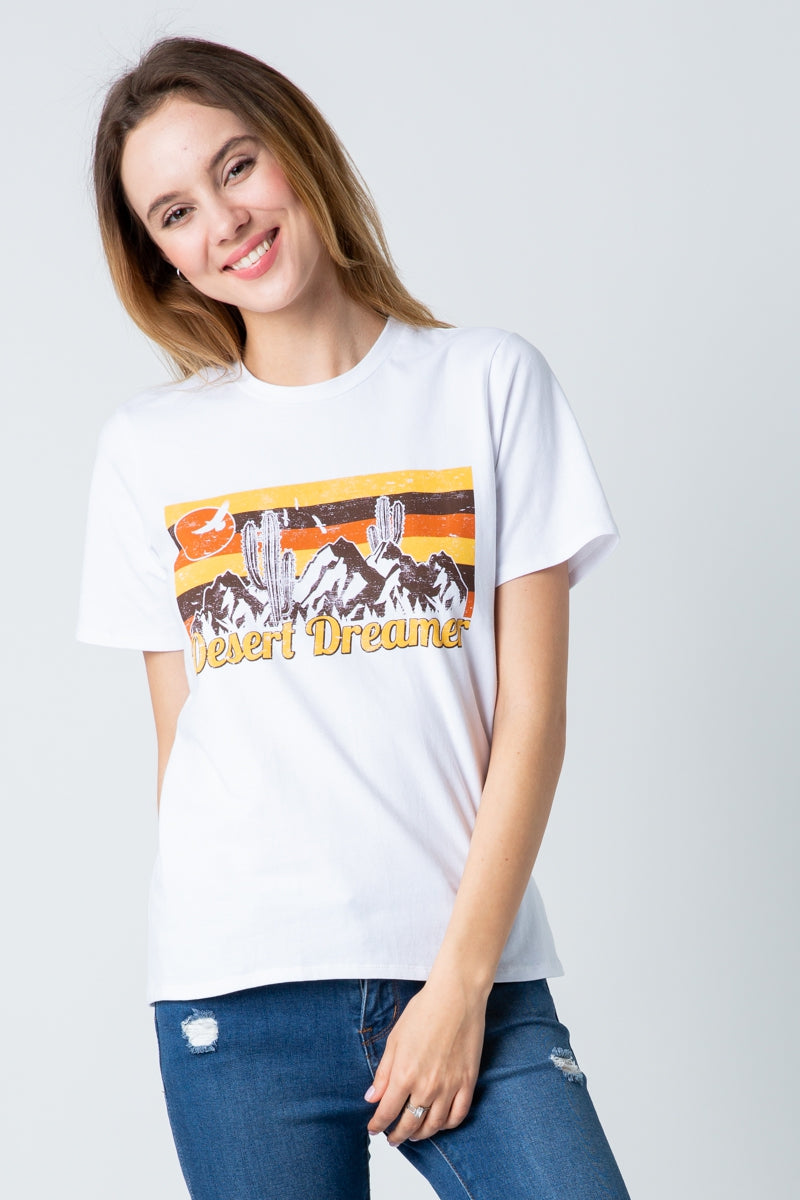 Short Sleeve Graphic Top Desert Dreams In White Siin Bees