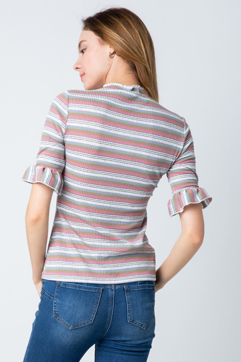 Snappy Top Knit Multi Stripe Top With Ruffle Sleeves Siin Bees