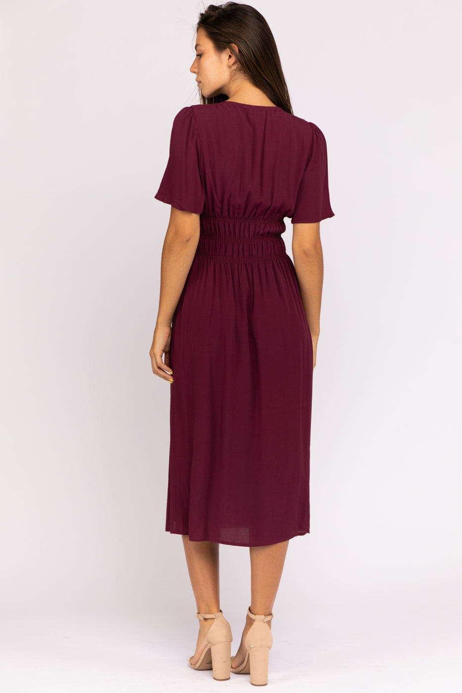 Button Down V Neck Midi Dress With Cinched Waist In Plum Siin Bees