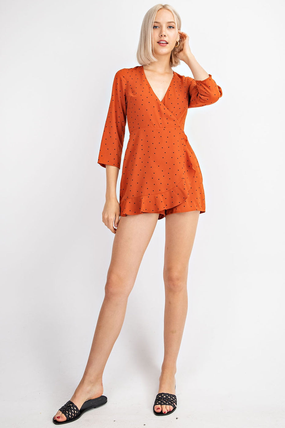 Emily Quarter Sleeve Romper With Ruffle Layer Siin Bees