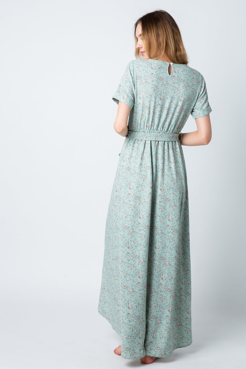 Elizabeth Floral Wrap Dress In Sage Siin Bees