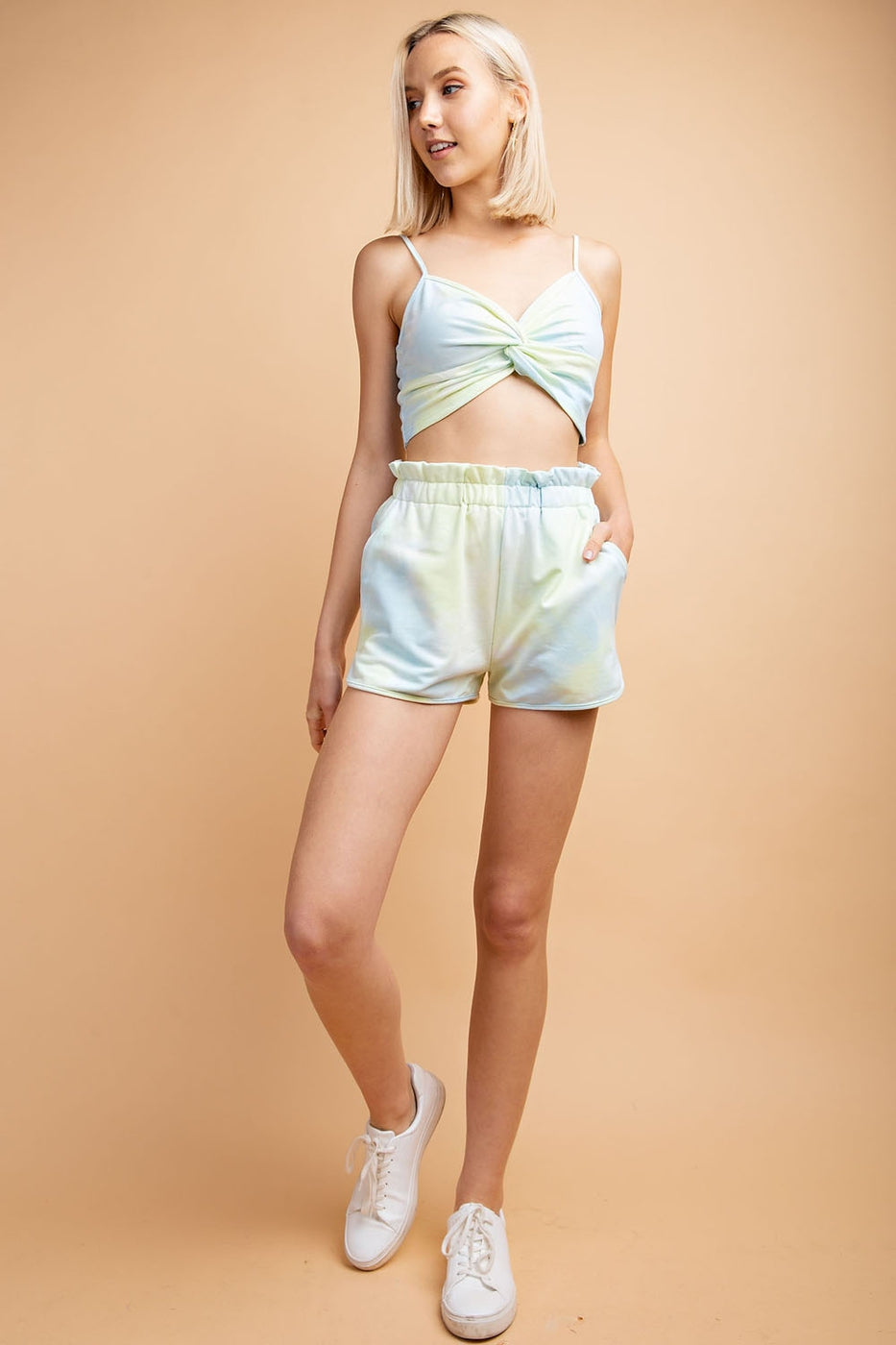 Elastic Waist Tie Dye Shorts With Side Pockets - Siin Bees