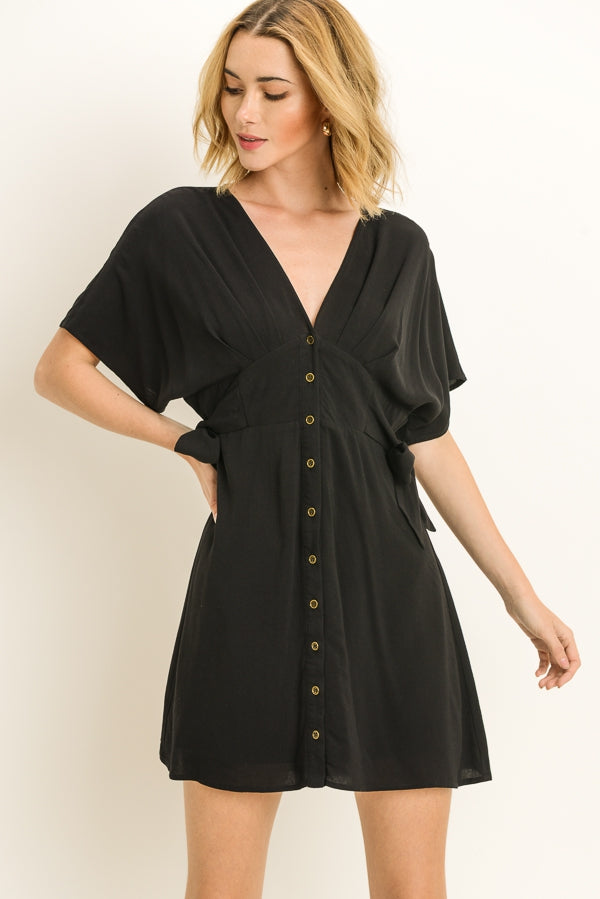 Side Tie V-Neck Dress Siin Bees