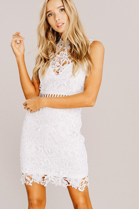 Ruby Crochet Lace Dress In Off White Siin Bees