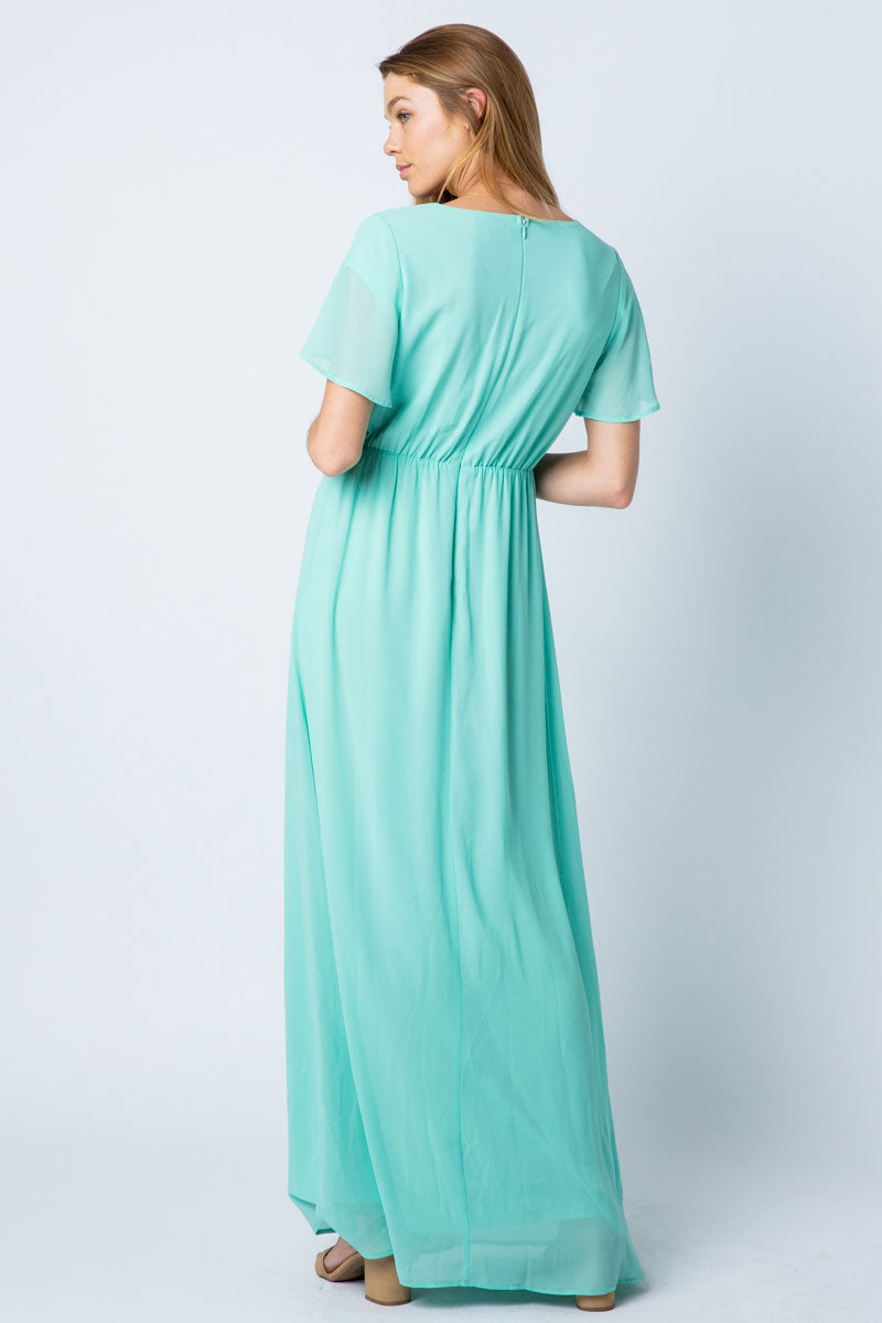 Clara Maxi Dress With Wrap Shirring Detail Siin Bees