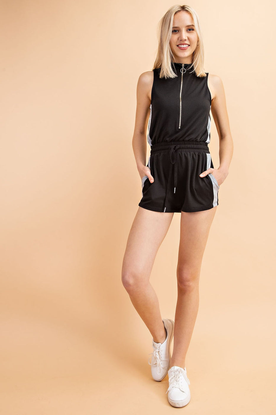 Zip Up Sleeveless Romper With Elastic Waist And Drawstring Siin Bees