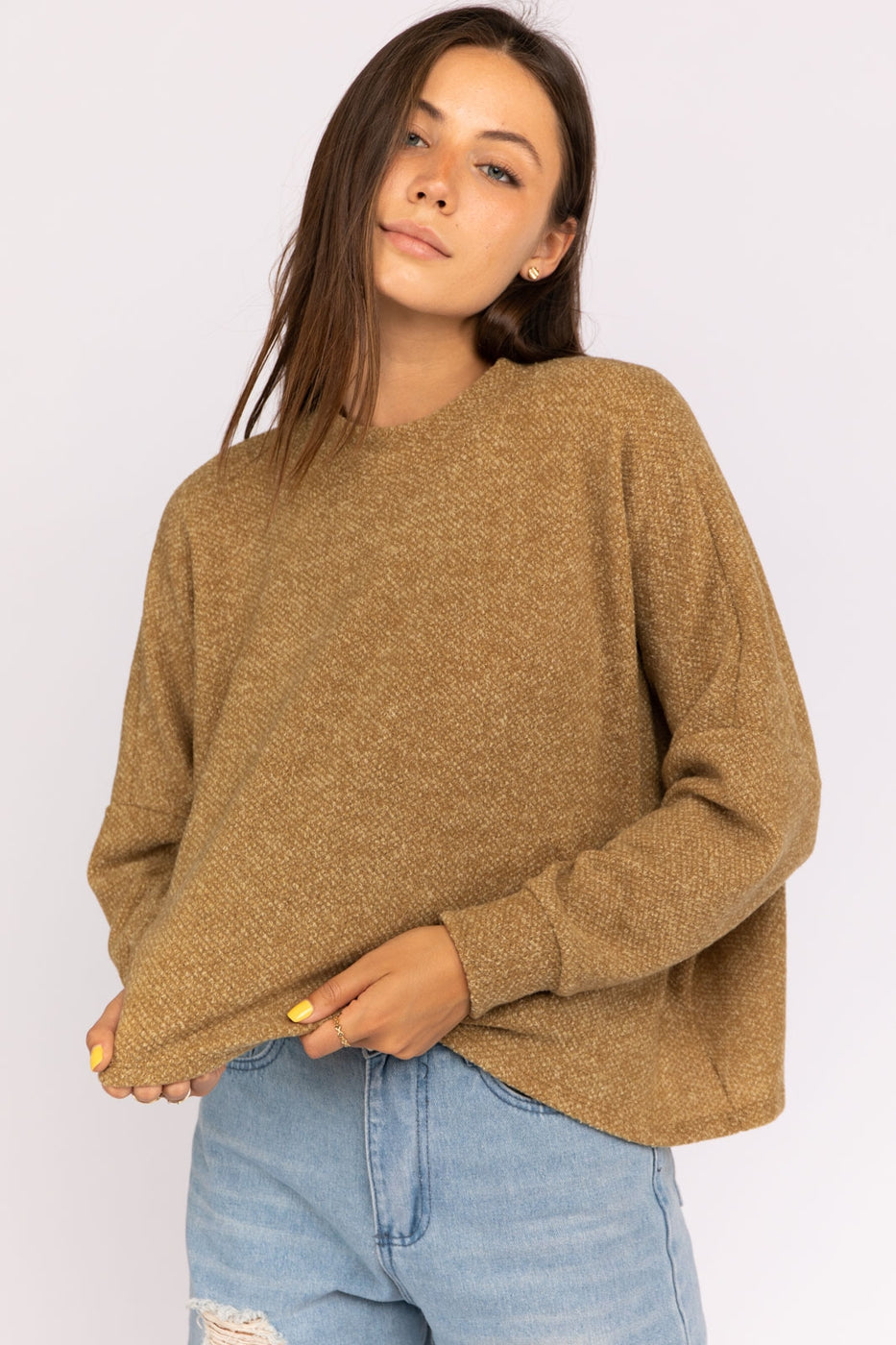 Asymmetrical Crewneck Long Sleeve Knit Top Siin Bees
