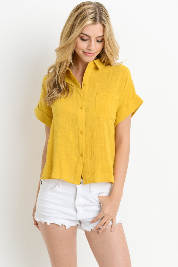 Loose Fit Button Down Top Siin Bees
