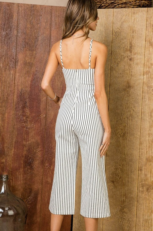 Violet Striped Front tie Pocket Stretch Woven Jumpsuit Siin Bees