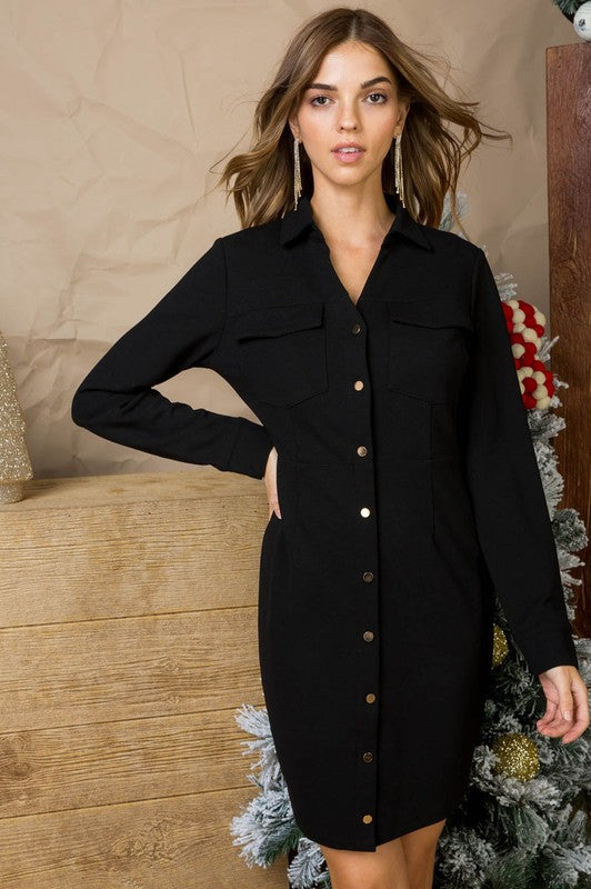 Front Button Down With Pocketed Top Front Long Sleeve Hidden Side Zipper Bodycon Dress Siin Bees
