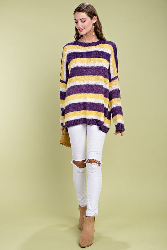 Multi Stripe Print Round Neck Long Sleeve Knit Sweater Siin Bees