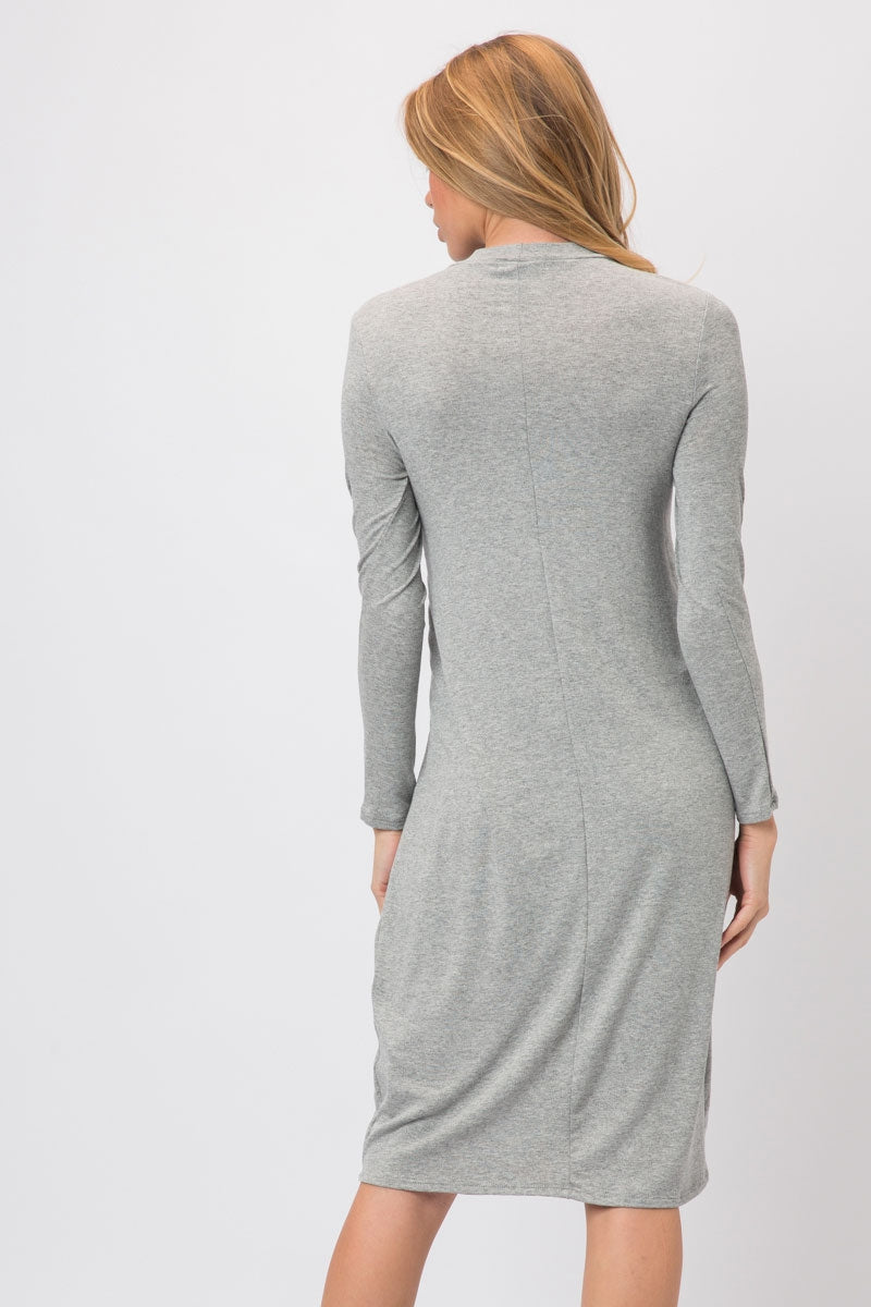 Heather Grey Knit Span Shirt Dress With Tie And Split Overlap Siin Bees