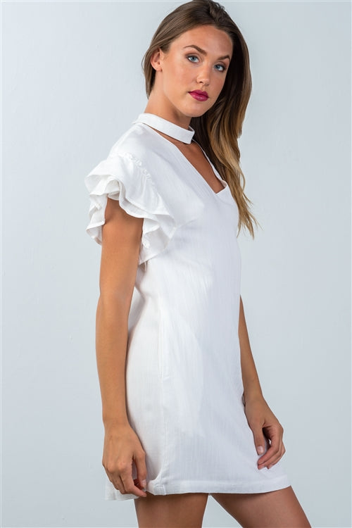Lola Ruffle Sleeve Choker Dress Siin Bees