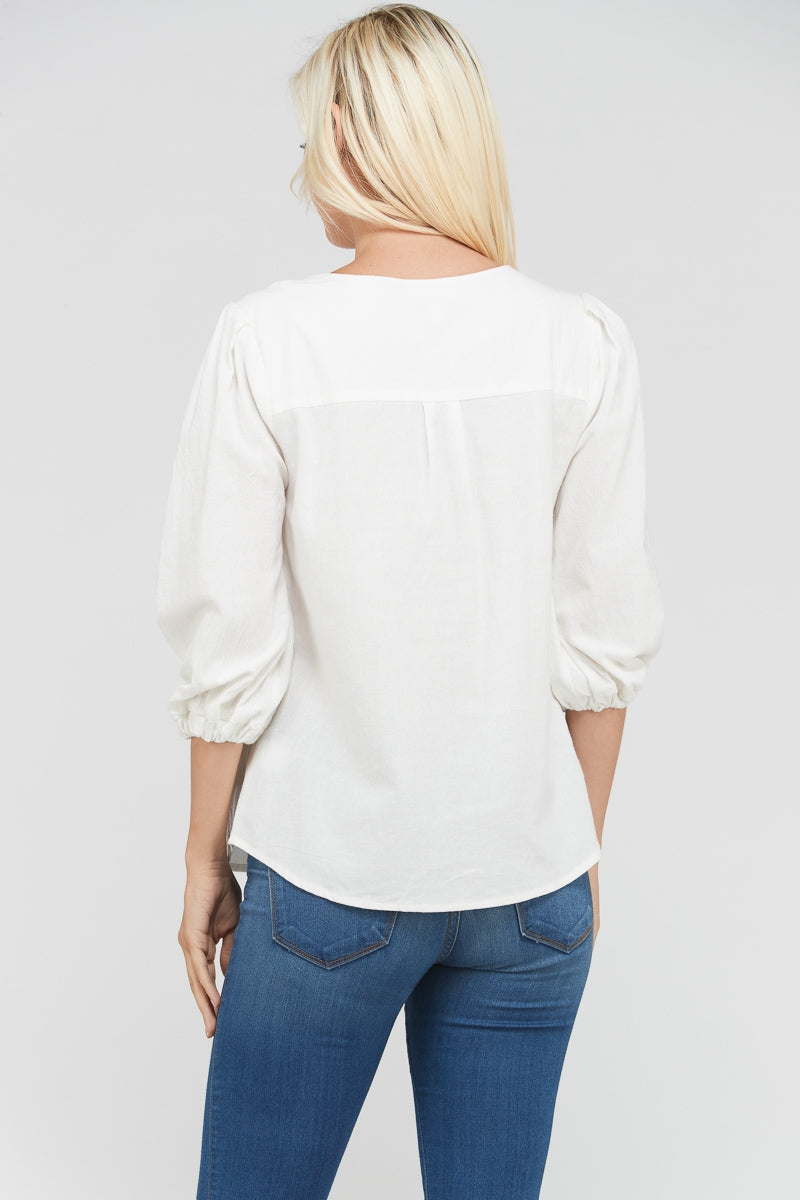 3/4 Sleeve White Top Shell Button Detail Siin Bees