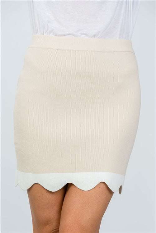 Beige Scalloped Hem Stretchy Mini Skirt Siin Bees