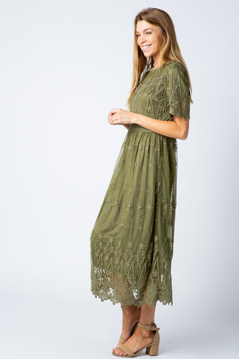 Rachel Midi Dress Lace Embroidered In Olive Siin Bees